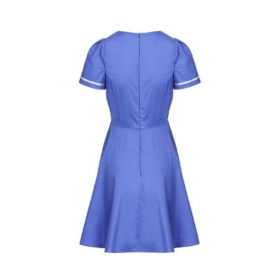 embroidery point double button dress